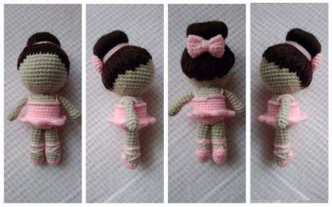 Вязаная кукла-балерина