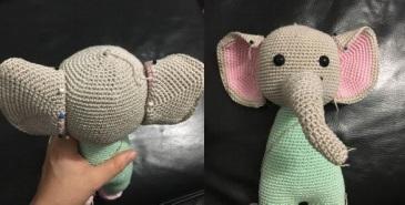Пуффи: сонный слоник крючком