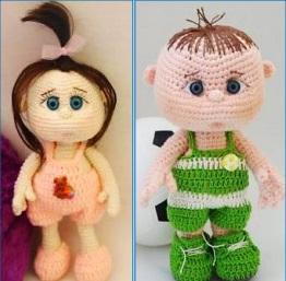 Пупсы крючком: мальчик и девочка